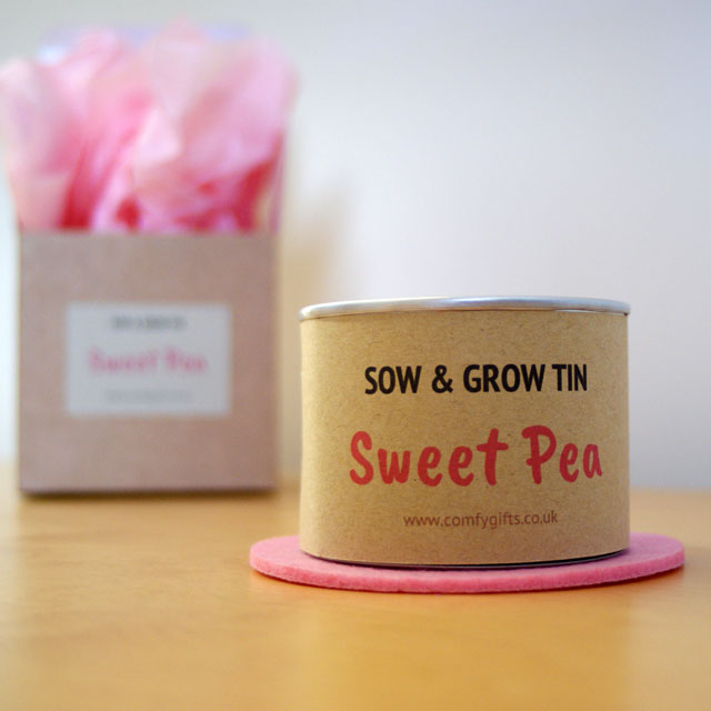 Grow your own sweet pea flowers kit, Sow & Grow Sweet Pea Tin